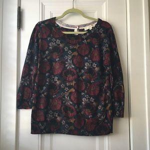 Loft dark floral thin spring sweater L